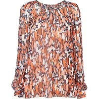 L.K.Bennett Agnes Silk Blouse, Tangerine Orange