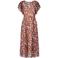 L.K.Bennett Agnes Silk Dress, Orange/Multi
