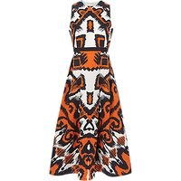 L.K.Bennett Andrea Linen Silk Blend Dress, Orange/Multi