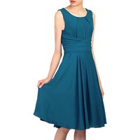 Jolie Moi Cross Wrap Belted Dress, Petrol Blue