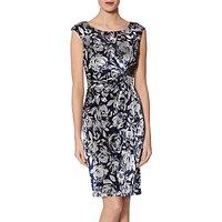 Gina Bacconi Ela Stretch Velvet Dress, Navy/Silver