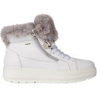 Geox Kaula Lace Up High Top Flatform Trainers, White Leather