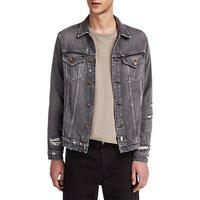 Allsaints Beltar Distressed Denim Jacket, Washed Black