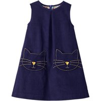 Mini Boden Girls' Cat Corduroy Pinafore Dress, Blue