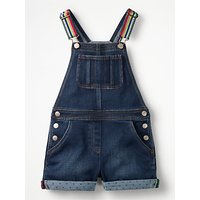 Mini Boden Girls' Denim Dungaree Shorts, Blue