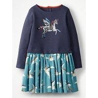 Mini Boden Girls' Sequin Unicorn Dress, Blue