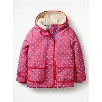 Mini Boden Girls' Sherpa Lined Anorak Coat, Pink