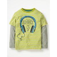 Mini Boden Boys' Stripe Music Print T-Shirt, Lime Green
