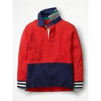 Mini Boden Boys' Rugby Shirt, Salsa Red/Navy