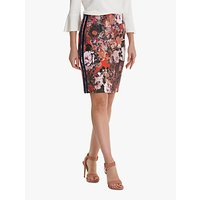 Betty Barclay Sporty Floral Pencil Skirt, Red/Dark Blue