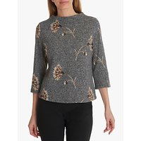 Betty Barclay Faux Tweed Embroidered Top, Charcoal/Multi