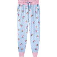 Joules Joycelin Floral Print Jersey Pyjama Bottoms, Blue