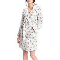 Joules Idlewhile Dog Print Fleece Dressing Gown, Grey