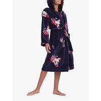 Joules Rita Floral Print Fleece Dressing Gown, Navy