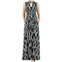 Jolie Moi Print Turtleneck Maxi Dress, Black/White