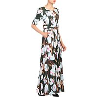 Jolie Moi Floral Print Half Sleeve Maxi Dress, Dark Green/Multi