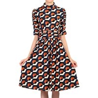 Jolie Moi Print Turtleneck Dress, Navy