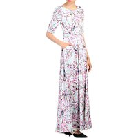 Jolie Moi Floral Print Half Sleeve Maxi Dress, Aqua/Multi