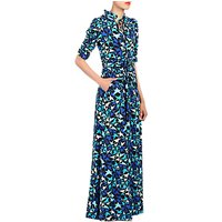 Jolie Moi Star Print Tie Collar Maxi Dress, Navy/Aqua