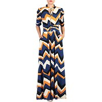 Jolie Moi Chevron Print Tie Collar Maxi Dress, Multi