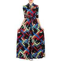 Jolie Moi Abstract Print Tie Collar Maxi Dress, Black/Multi