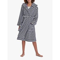 Joules Rita Stripe Fleece Dressing Gown, Navy/White