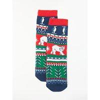 John Lewis & Partners Children's Fair Isle Slipper Socks, Blue