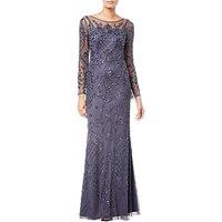 Adrianna Papell Long Sleeve Embellished Dress, Gunmetal
