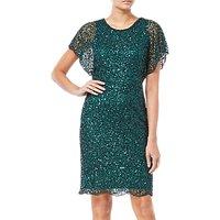 Adrianna Papell Flutter Sleeve Sequin Dress, Dusty Emerald