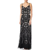 Adrianna Papell Floral Bead Blouson Gown, Black/multi