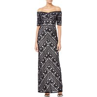 Adrianna Papell Stripe Lace Dress, Black/Ivory