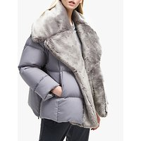 French Connection Devon Faux Fur Trim Quilted Wrap Coat, Dove Grey