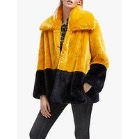 French Connection Sebille Faux Fur Coat, Utility Blue/Calluna Yellow