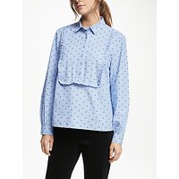 Collection WEEKEND by John Lewis Polka Dot Frill Front Shirt, Blue