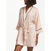 DKNY Read My Lips Satin Dressing Gown, Multi