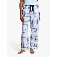 John Lewis & Partners Natalie Check Cotton Pyjama Bottom, White/Blue
