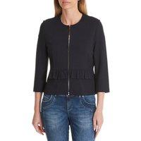 Betty Barclay Frilled Jersey Jacket, Dark Sapphire