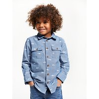 John Lewis & Partners Boys' Shark Chambray Shirt, Blue