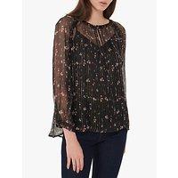 Gerard Darel Laurene Floral Sheer Silk Blouse, Black
