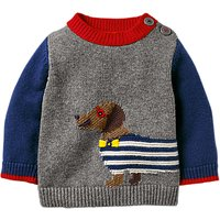 Mini Boden Baby Fun Knitted Jumper, Grey Marl