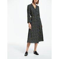 Finery Daniella Tie Waist Print Shirt Dress, Navy Ditsy