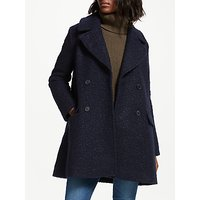 Great Plains Boucle Sleeve Double Breasted Coat, Midnight