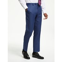 John Lewis and Partners Wool Check Tailored Suit Trousers, Aqua