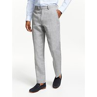 John Lewis and Partners Linen Regular Fit Suit Trousers, Silver