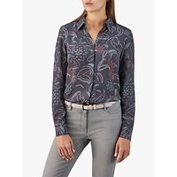 Pure Collection Washed Paisley Print Silk Blouse, Charcoal Paisley