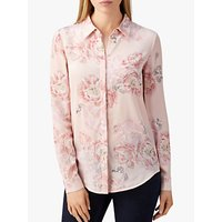Pure Collection Washed Silk Blouse, Pale Pink Floral