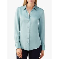 Pure Collection Silk Satin Blouse, Frost Blue