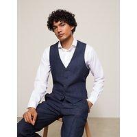 John Lewis and Partners Linen Regular Fit Waistcoat, Navy
