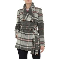 Ted Baker Fredde Short Check Wool Wrap Coat, Light Grey