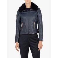 Ted Baker Tamri Leather Jacket, Navy